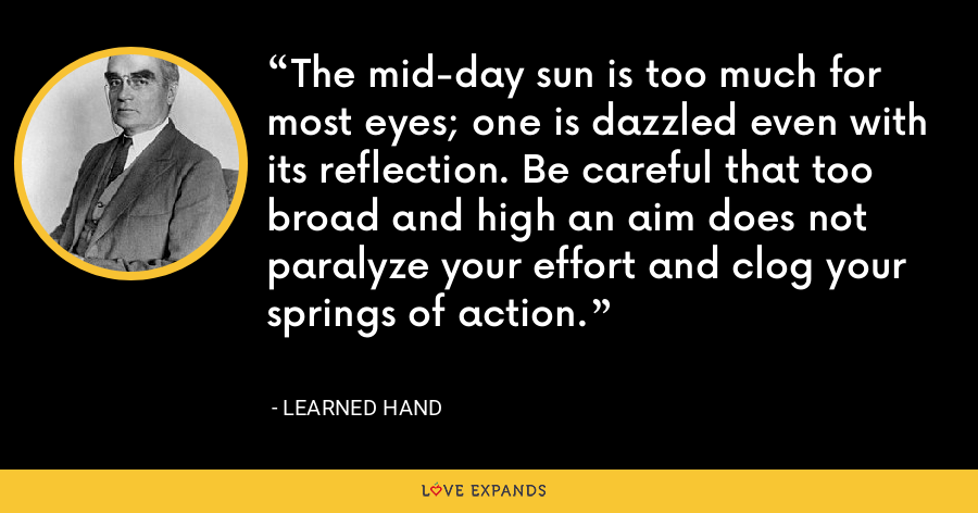 The mid-day sun is too much for most eyes; one is dazzled even with its reflection. Be careful that too broad and high an aim does not paralyze your effort and clog your springs of action. - Learned Hand