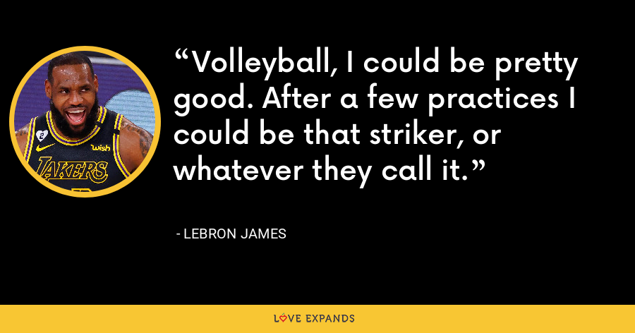 Volleyball, I could be pretty good. After a few practices I could be that striker, or whatever they call it. - LeBron James