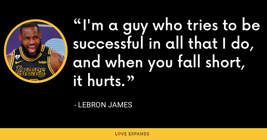 I'm a guy who tries to be successful in all that I do, and when you fall short, it hurts. - LeBron James