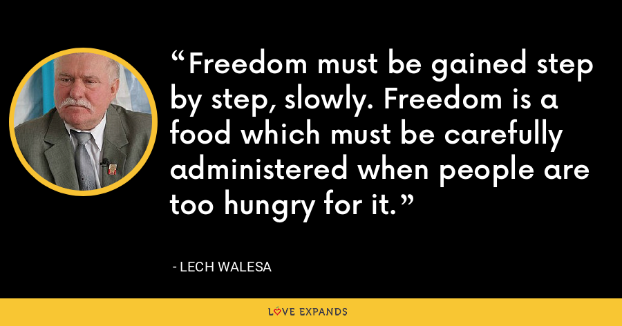 Freedom must be gained step by step, slowly. Freedom is a food which must be carefully administered when people are too hungry for it. - Lech Walesa