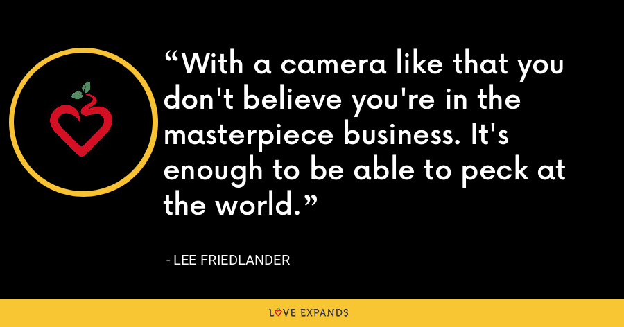 With a camera like that you don't believe you're in the masterpiece business. It's enough to be able to peck at the world. - Lee Friedlander