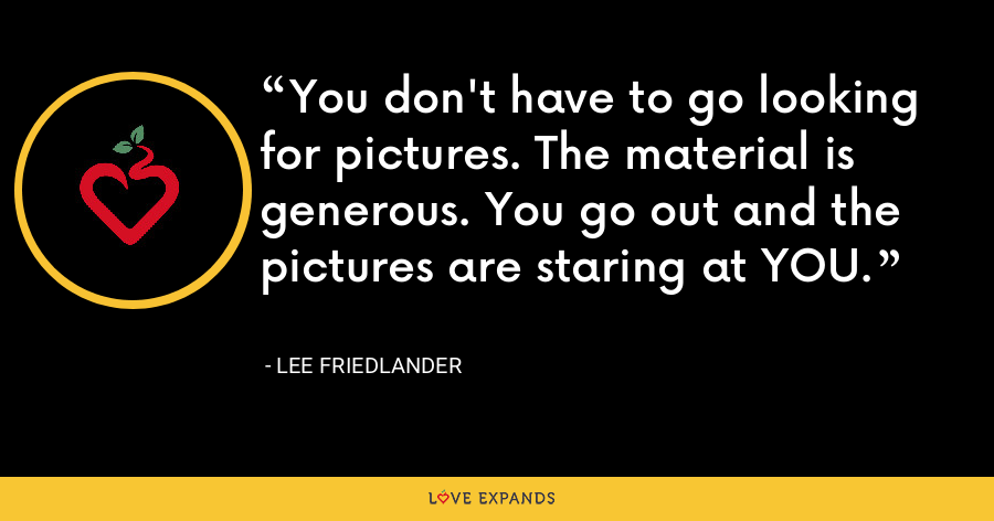 You don't have to go looking for pictures. The material is generous. You go out and the pictures are staring at YOU. - Lee Friedlander