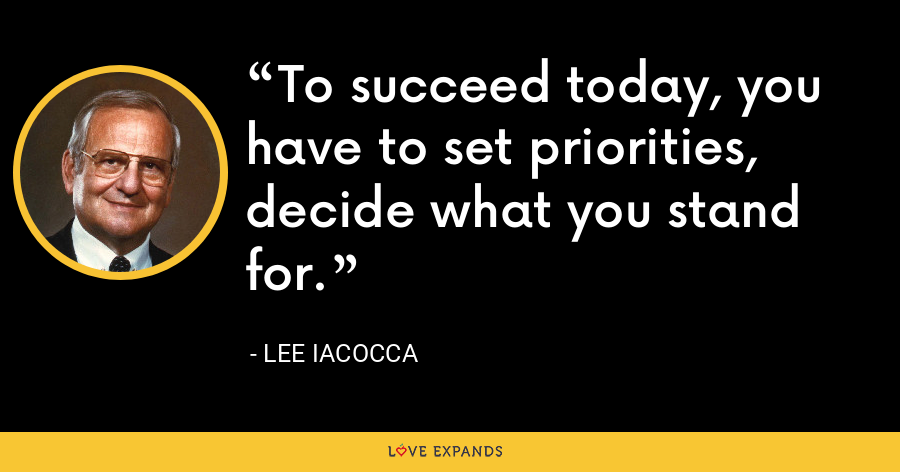To succeed today, you have to set priorities, decide what you stand for. - Lee Iacocca