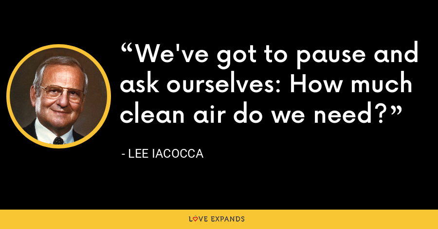 We've got to pause and ask ourselves: How much clean air do we need? - Lee Iacocca