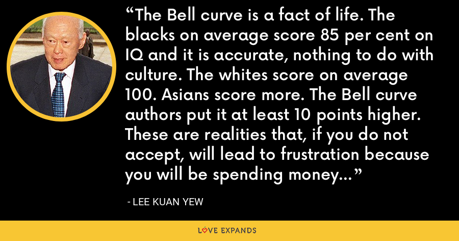 The Bell curve is a fact of life. The blacks on average score 85 per cent on IQ and it is accurate, nothing to do with culture. The whites score on average 100. Asians score more. The Bell curve authors put it at least 10 points higher. These are realities that, if you do not accept, will lead to frustration because you will be spending money on wrong assumptions and the results cannot follow. - Lee Kuan Yew