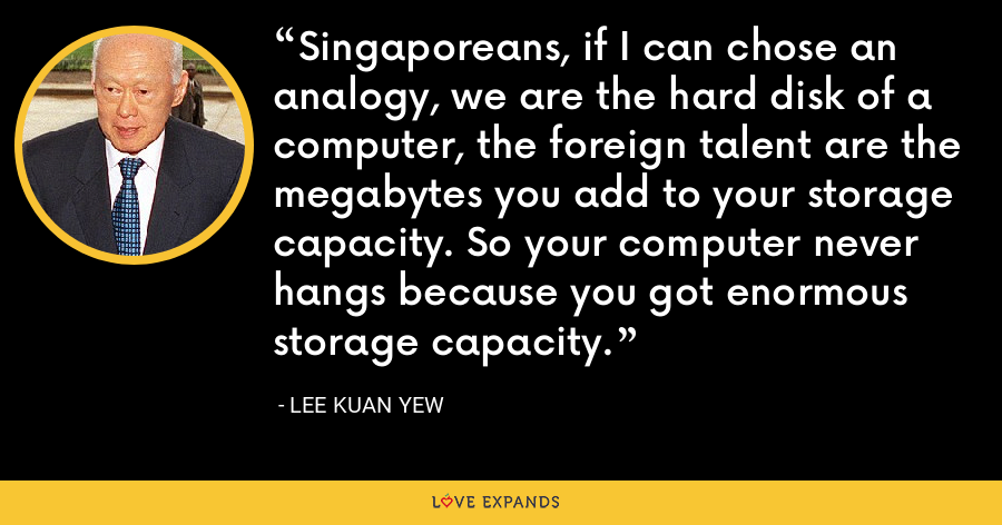 Singaporeans, if I can chose an analogy, we are the hard disk of a computer, the foreign talent are the megabytes you add to your storage capacity. So your computer never hangs because you got enormous storage capacity. - Lee Kuan Yew