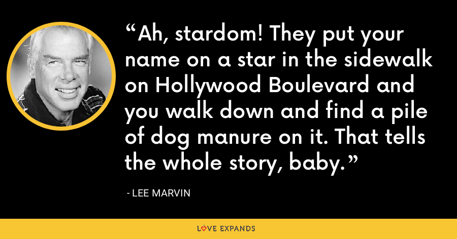 Ah, stardom! They put your name on a star in the sidewalk on Hollywood Boulevard and you walk down and find a pile of dog manure on it. That tells the whole story, baby. - Lee Marvin