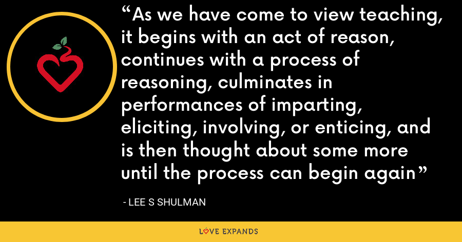 As we have come to view teaching, it begins with an act of reason, continues with a process of reasoning, culminates in performances of imparting, eliciting, involving, or enticing, and is then thought about some more until the process can begin again - Lee S Shulman
