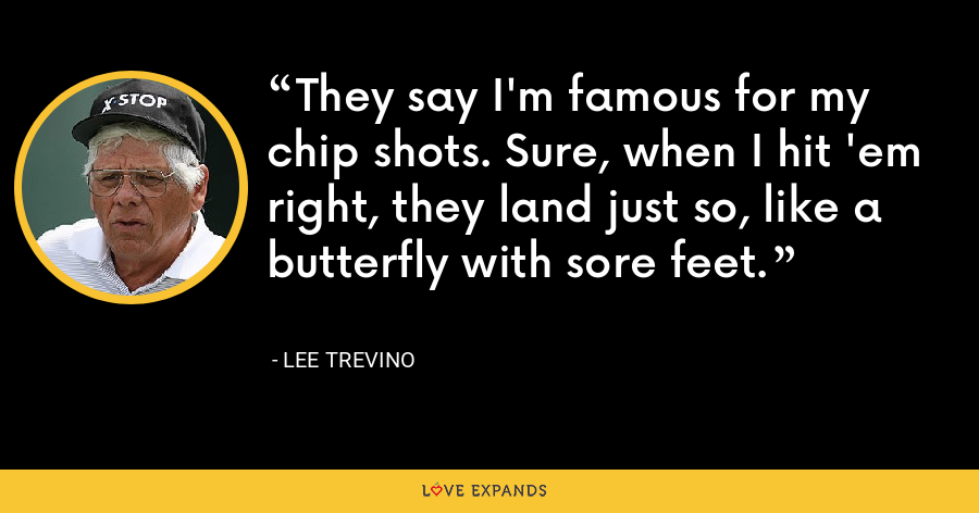 They say I'm famous for my chip shots. Sure, when I hit 'em right, they land just so, like a butterfly with sore feet. - Lee Trevino