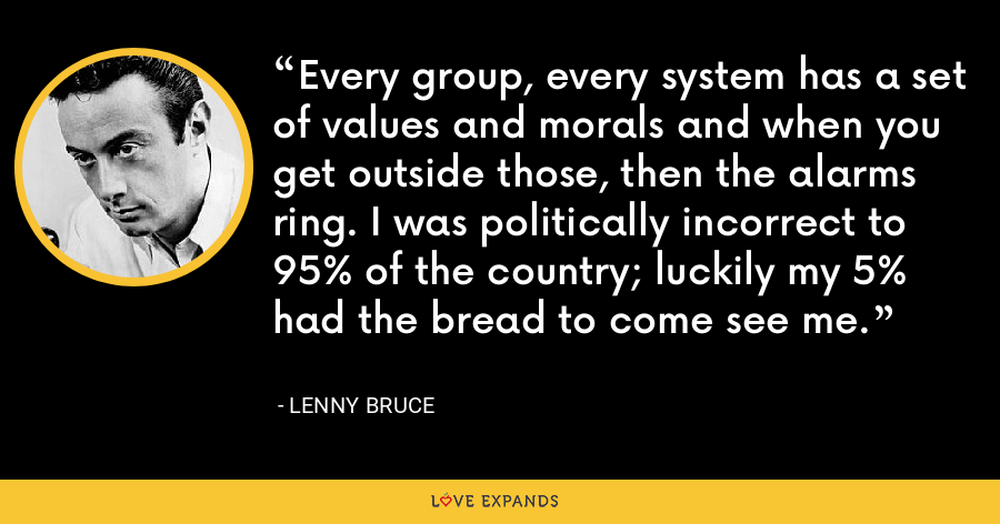 Every group, every system has a set of values and morals and when you get outside those, then the alarms ring. I was politically incorrect to 95% of the country; luckily my 5% had the bread to come see me. - Lenny Bruce