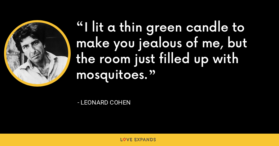 I lit a thin green candle to make you jealous of me, but the room just filled up with mosquitoes. - Leonard Cohen