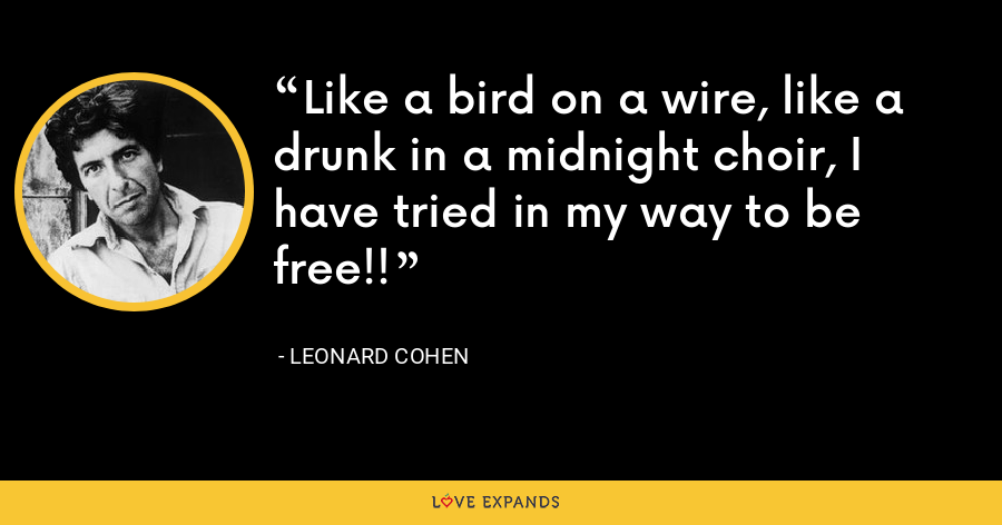 Like a bird on a wire, like a drunk in a midnight choir, I have tried in my way to be free!! - Leonard Cohen