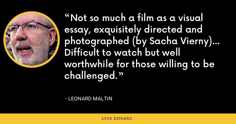 Not so much a film as a visual essay, exquisitely directed and photographed (by Sacha Vierny)... Difficult to watch but well worthwhile for those willing to be challenged. - Leonard Maltin