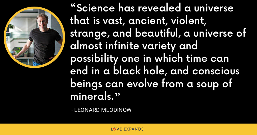 Science has revealed a universe that is vast, ancient, violent, strange, and beautiful, a universe of almost infinite variety and possibility one in which time can end in a black hole, and conscious beings can evolve from a soup of minerals. - Leonard Mlodinow