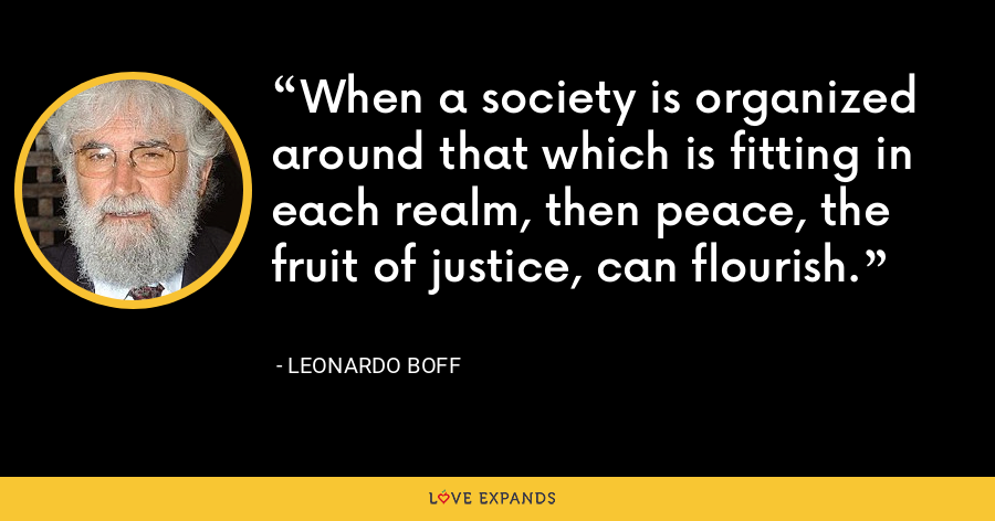 When a society is organized around that which is fitting in each realm, then peace, the fruit of justice, can flourish. - Leonardo Boff