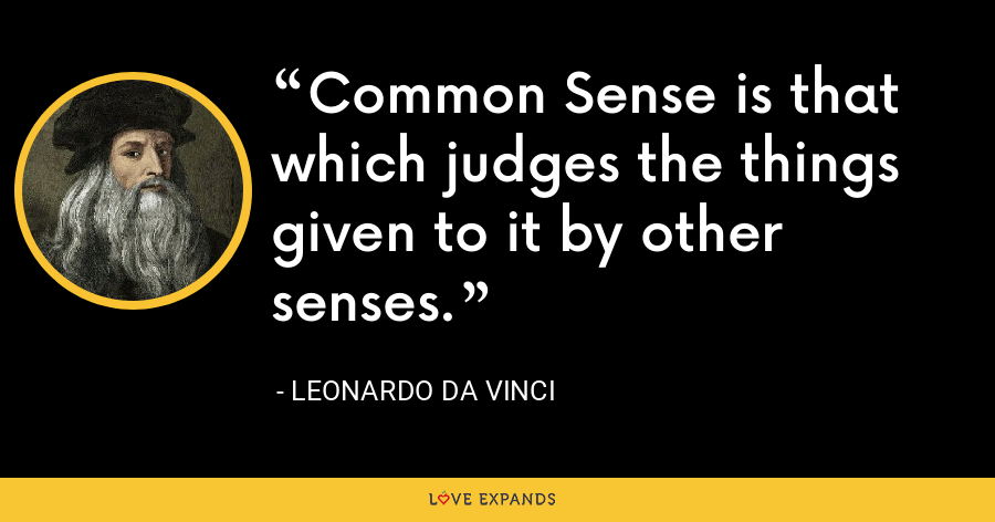 Common Sense is that which judges the things given to it by other senses. - Leonardo da Vinci