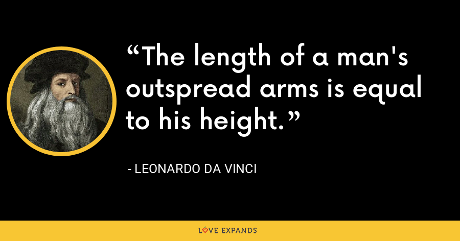 The length of a man's outspread arms is equal to his height. - Leonardo da Vinci