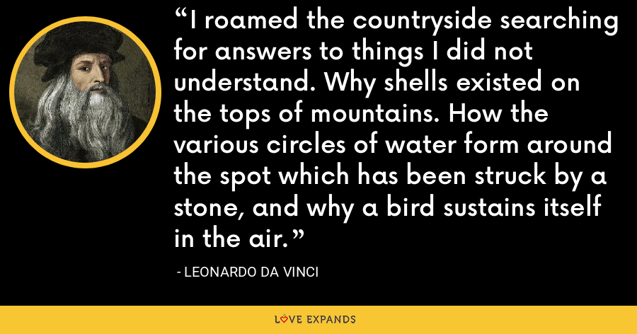 I roamed the countryside searching for answers to things I did not understand. Why shells existed on the tops of mountains. How the various circles of water form around the spot which has been struck by a stone, and why a bird sustains itself in the air. - Leonardo da Vinci