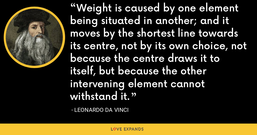 Weight is caused by one element being situated in another; and it moves by the shortest line towards its centre, not by its own choice, not because the centre draws it to itself, but because the other intervening element cannot withstand it. - Leonardo da Vinci