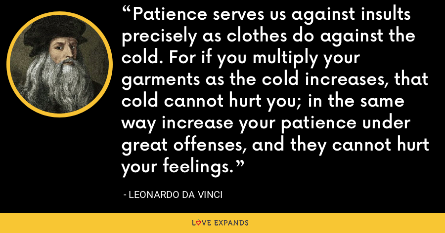 Patience serves us against insults precisely as clothes do against the cold. For if you multiply your garments as the cold increases, that cold cannot hurt you; in the same way increase your patience under great offenses, and they cannot hurt your feelings. - Leonardo da Vinci