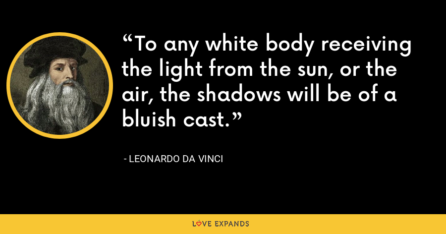 To any white body receiving the light from the sun, or the air, the shadows will be of a bluish cast. - Leonardo da Vinci