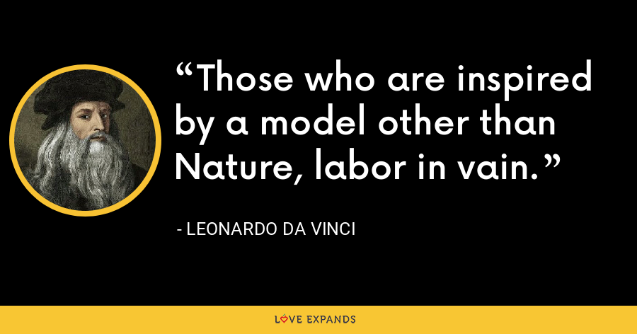 Those who are inspired by a model other than Nature, labor in vain. - Leonardo da Vinci