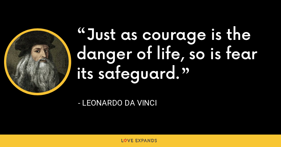 Just as courage is the danger of life, so is fear its safeguard. - Leonardo da Vinci