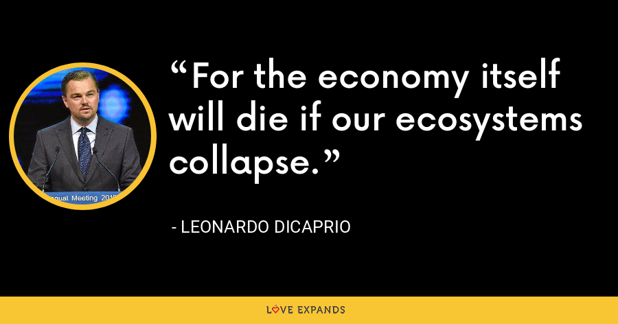 For the economy itself will die if our ecosystems collapse. - Leonardo DiCaprio