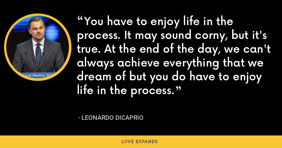 You have to enjoy life in the process. It may sound corny, but it's true. At the end of the day, we can't always achieve everything that we dream of but you do have to enjoy life in the process. - Leonardo DiCaprio