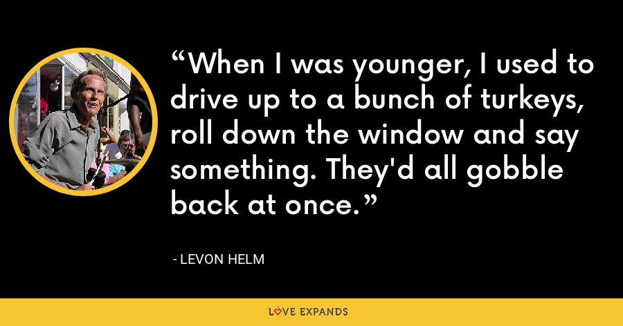 When I was younger, I used to drive up to a bunch of turkeys, roll down the window and say something. They'd all gobble back at once. - Levon Helm