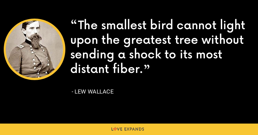 The smallest bird cannot light upon the greatest tree without sending a shock to its most distant fiber. - Lew Wallace