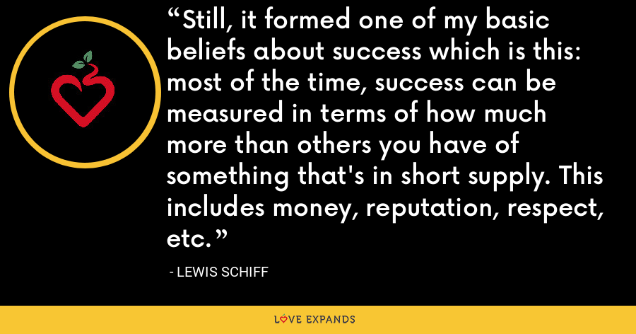 Still, it formed one of my basic beliefs about success which is this: most of the time, success can be measured in terms of how much more than others you have of something that's in short supply. This includes money, reputation, respect, etc. - Lewis Schiff