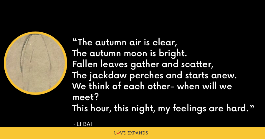 The autumn air is clear,The autumn moon is bright.Fallen leaves gather and scatter,The jackdaw perches and starts anew.We think of each other- when will we meet?This hour, this night, my feelings are hard. - Li Bai