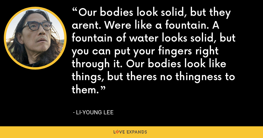 Our bodies look solid, but they arent. Were like a fountain. A fountain of water looks solid, but you can put your fingers right through it. Our bodies look like things, but theres no thingness to them. - Li-Young Lee