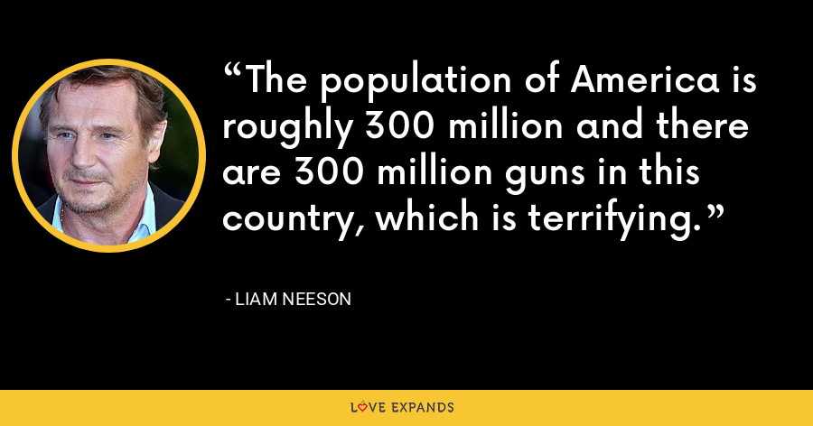 The population of America is roughly 300 million and there are 300 million guns in this country, which is terrifying. - Liam Neeson