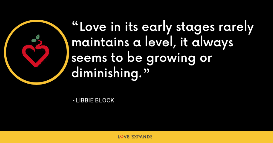 Love in its early stages rarely maintains a level, it always seems to be growing or diminishing. - Libbie Block