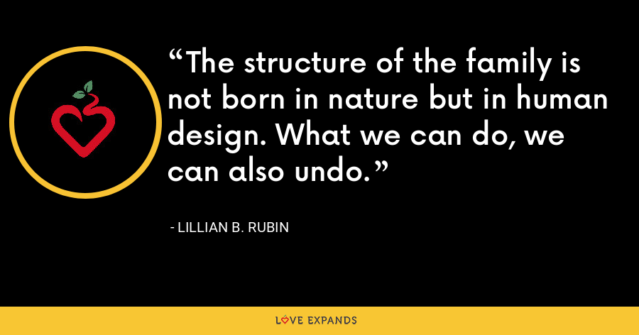 The structure of the family is not born in nature but in human design. What we can do, we can also undo. - Lillian B. Rubin