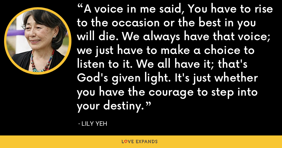 A voice in me said, You have to rise to the occasion or the best in you will die. We always have that voice; we just have to make a choice to listen to it. We all have it; that's God's given light. It's just whether you have the courage to step into your destiny. - Lily Yeh