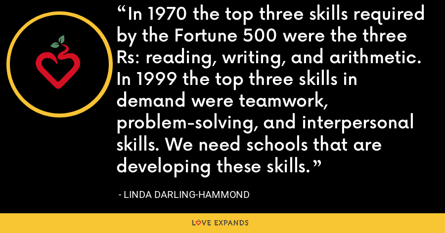 In 1970 the top three skills required by the Fortune 500 were the three Rs: reading, writing, and arithmetic. In 1999 the top three skills in demand were teamwork, problem-solving, and interpersonal skills. We need schools that are developing these skills. - Linda Darling-Hammond