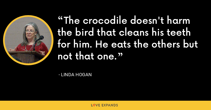 The crocodile doesn't harm the bird that cleans his teeth for him. He eats the others but not that one. - Linda Hogan