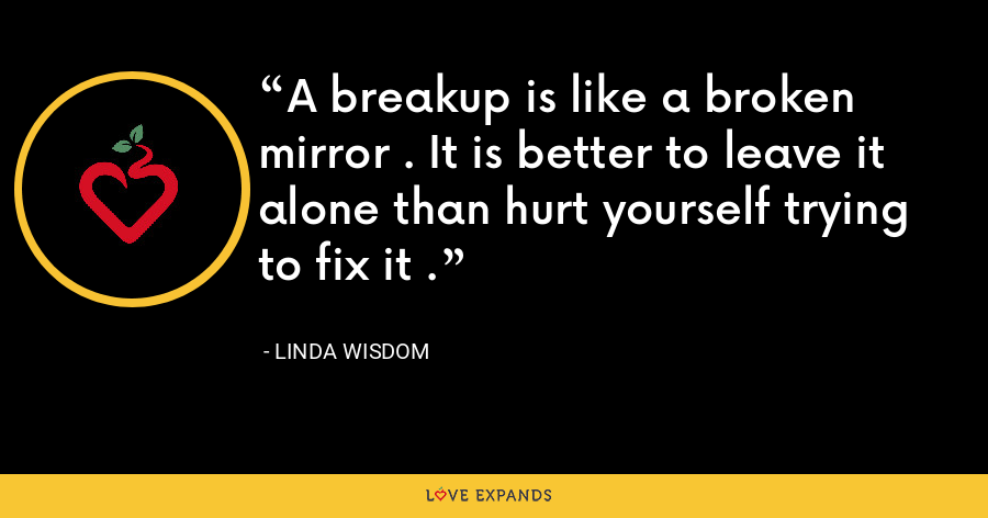 A breakup is like a broken mirror . It is better to leave it alone than hurt yourself trying to fix it . - Linda Wisdom