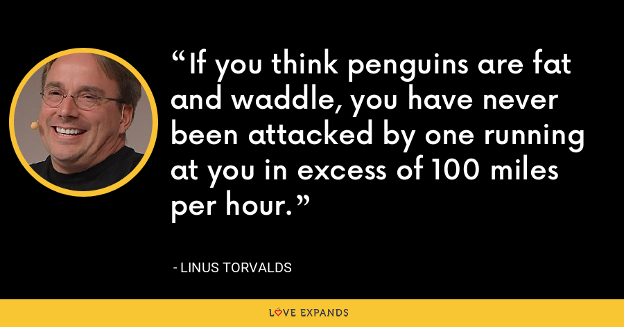 If you think penguins are fat and waddle, you have never been attacked by one running at you in excess of 100 miles per hour. - Linus Torvalds