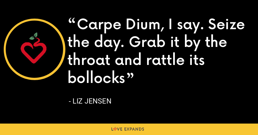 Carpe Dium, I say. Seize the day. Grab it by the throat and rattle its bollocks - Liz Jensen