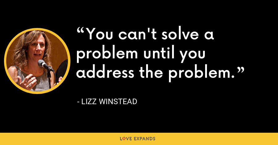You can't solve a problem until you address the problem. - Lizz Winstead