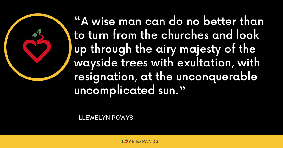 A wise man can do no better than to turn from the churches and look up through the airy majesty of the wayside trees with exultation, with resignation, at the unconquerable uncomplicated sun. - Llewelyn Powys