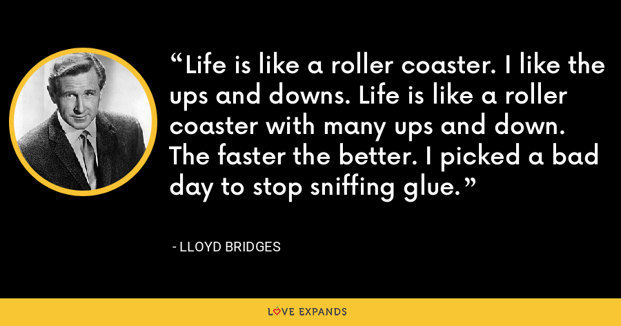 Life is like a roller coaster. I like the ups and downs. Life is like a roller coaster with many ups and down. The faster the better. I picked a bad day to stop sniffing glue. - Lloyd Bridges