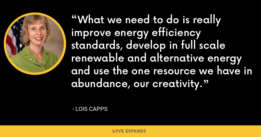 What we need to do is really improve energy efficiency standards, develop in full scale renewable and alternative energy and use the one resource we have in abundance, our creativity. - Lois Capps