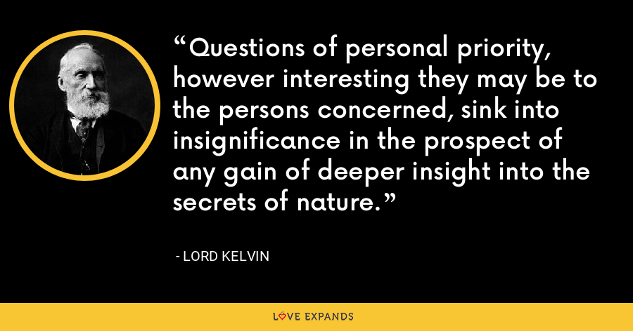 Questions of personal priority, however interesting they may be to the persons concerned, sink into insignificance in the prospect of any gain of deeper insight into the secrets of nature. - Lord Kelvin