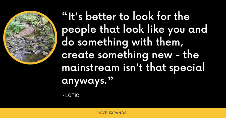 It's better to look for the people that look like you and do something with them, create something new - the mainstream isn't that special anyways. - Lotic