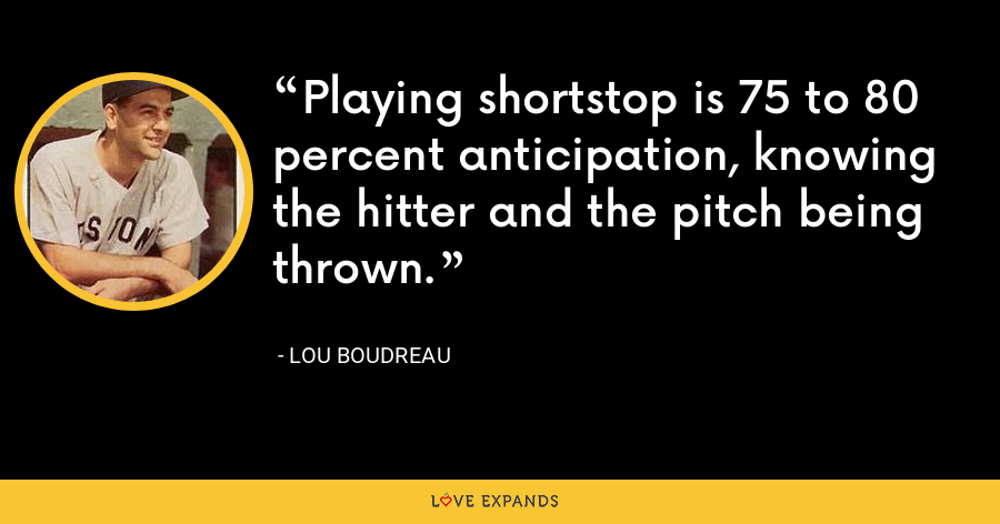 Playing shortstop is 75 to 80 percent anticipation, knowing the hitter and the pitch being thrown. - Lou Boudreau